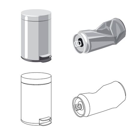 Isolated object of dump and sort icon. Collection of dump and junk stock symbol for web. Vettoriali