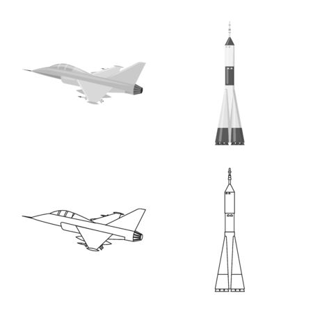 Isolated object of plane and transport icon. Set of plane and sky vector icon for stock.