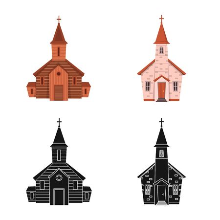 Vector illustration of cult and temple icon. Collection of cult and parish vector icon for stock. Illustration