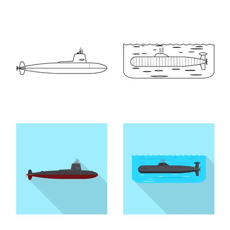 Vector illustration of war and ship symbol. Collection of war and fleet stock symbol for web.