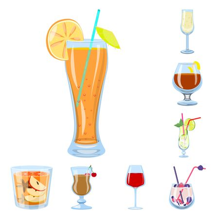 Vector design of cocktail and drink icon. Set of cocktail and ice stock vector illustration.