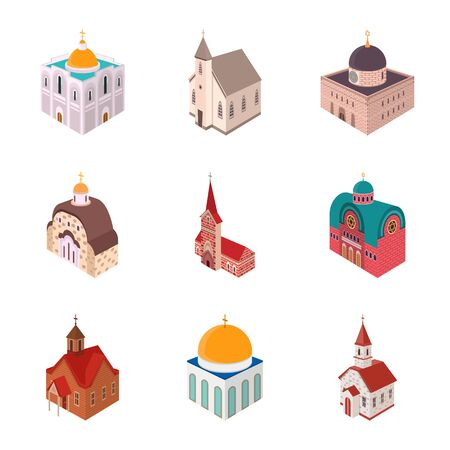 Isolated object of architecture and building sign. Set of architecture and clergy stock vector illustration.