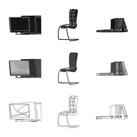 Isolated object of furniture and work icon. Set of furniture and home stock symbol for web.