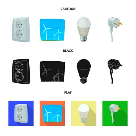 Vector illustration of electricity and electric sign. Set of electricity and energy stock vector illustration.