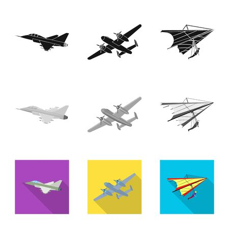 Vector design of plane and transport sign. Collection of plane and sky stock vector illustration. Çizim