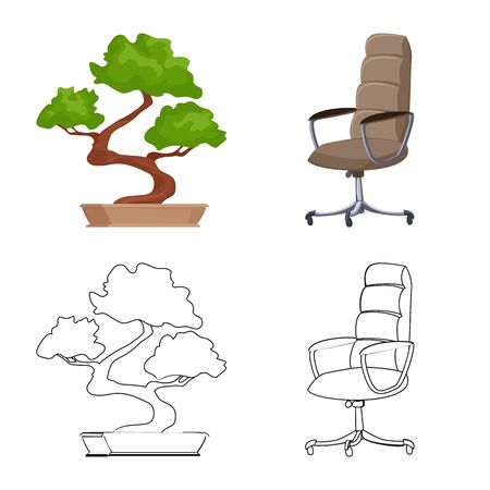 Vector design of furniture and work symbol. Set of furniture and home vector icon for stock.
