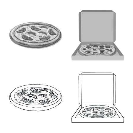 Vector design of pizza and food icon. Set of pizza and italy vector icon for stock. 일러스트