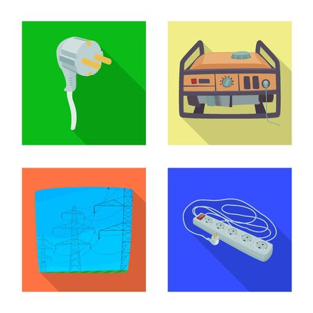 Isolated object of electricity and electric icon. Set of electricity and energy stock vector illustration.