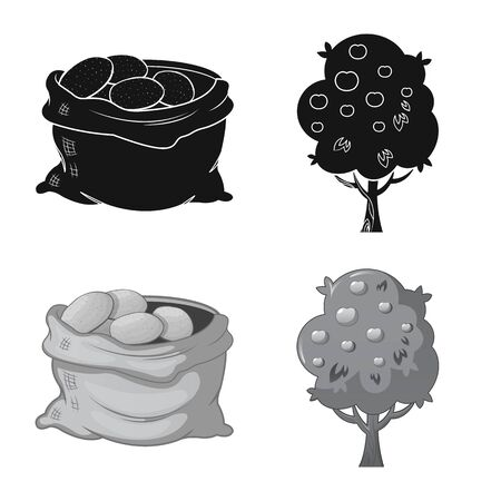Isolated object of farm and agriculture. Collection of farm and plant stock symbol for web.