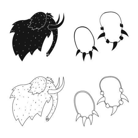 Vector design of evolution and neolithic sign. Collection of evolution and primeval stock vector illustration.