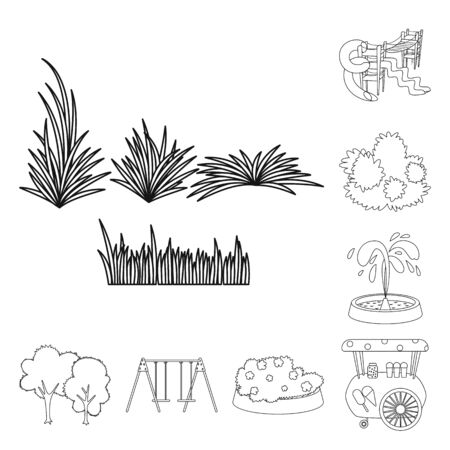 Vector illustration of landscape and nature symbol. Set of landscape and city stock symbol for web. Иллюстрация