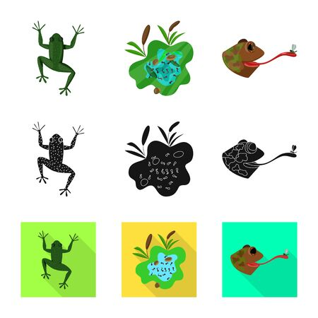 Vector illustration of wildlife and bog symbol. Set of wildlife and reptile vector icon for stock.