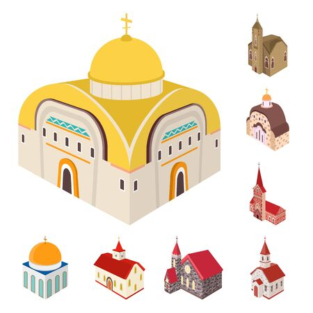 Vector illustration of architecture and building sign. Collection of architecture and clergy vector icon for stock.