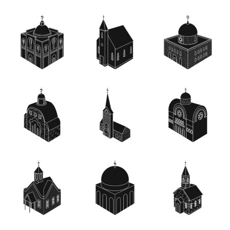 Vector illustration of parish and faith symbol. Collection of parish and building stock symbol for web.