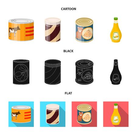Vector design of can and food. Set of can and package stock vector illustration. Stock Illustratie