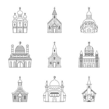 Isolated object of architecture and faith symbol. Collection of architecture and temple vector icon for stock.