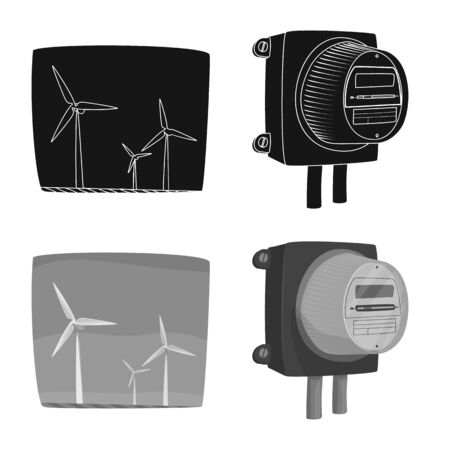 Vector design of electricity and electric symbol. Collection of electricity and energy stock vector illustration.