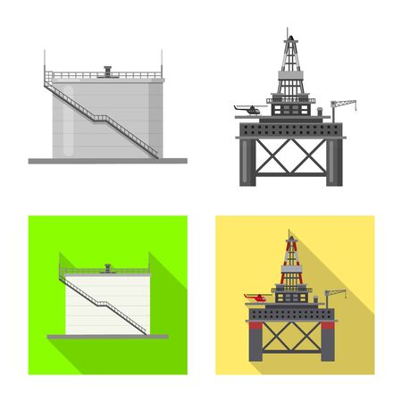 Isolated object of oil and gas symbol. Set of oil and petrol stock vector illustration.