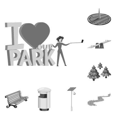 Isolated object of park and city icon. Set of park and street stock vector illustration.