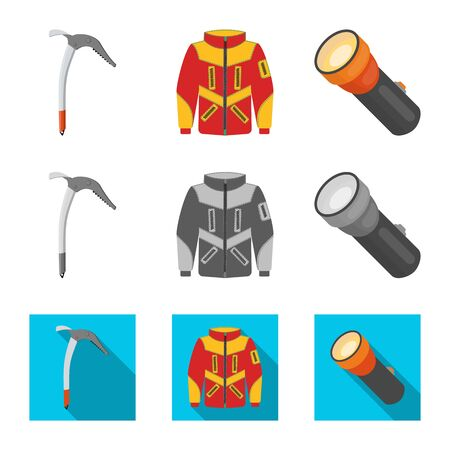 Vector design of mountaineering and peak sign. Collection of mountaineering and camp vector icon for stock.