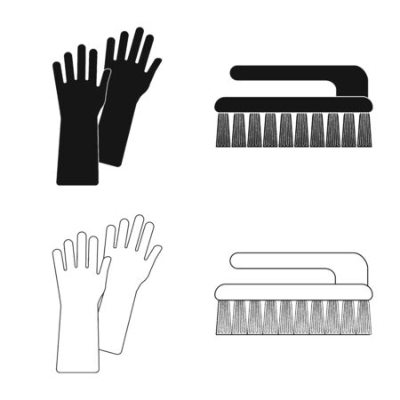 Vector design of cleaning and service symbol. Collection of cleaning and household vector icon for stock. Vettoriali