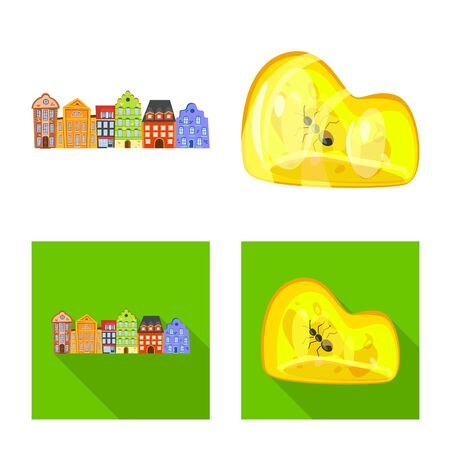 Vector design of traditional and tour icon. Set of traditional and landmarks stock vector illustration. Illustration