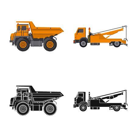 Illustration vectorielle de l'icône de construction et de construction. Ensemble de construction et illustration vectorielle stock de machines. Vecteurs