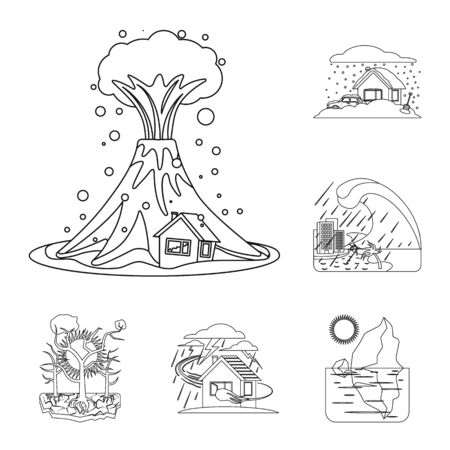 Vector design of natural and disaster sign. Collection of natural and risk vector icon for stock.