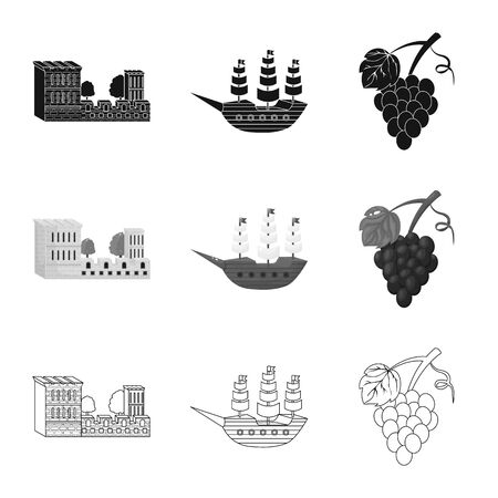 Vector illustration of and historic icon. Set of and country stock symbol for web. Illustration