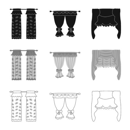 Vector design of curtains and drapes icon. Collection of curtains and blinds vector icon for stock.