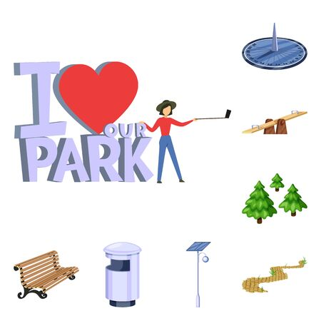 Vector design of landscape and park logo. Collection of landscape and nature vector icon for stock.