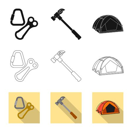 Vector design of mountaineering and peak icon. Collection of mountaineering and camp stock symbol for web.