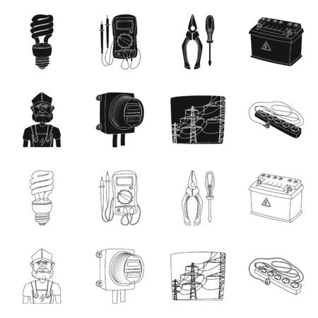 Vector design of electricity and electric icon. Set of electricity and energy vector icon for stock.