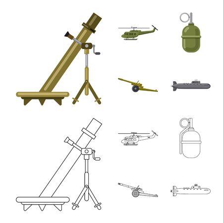 Ilustración de vector de símbolo de arma y pistola. Colección de símbolo de stock de armas y ejército para web.
