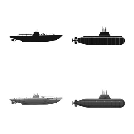 Vector illustration of war and ship icon. Set of war and fleet stock vector illustration. Illustration