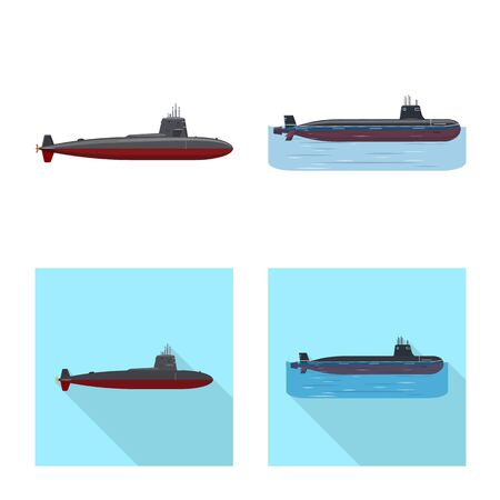 Isolated object of war and ship logo. Set of war and fleet stock symbol for web.