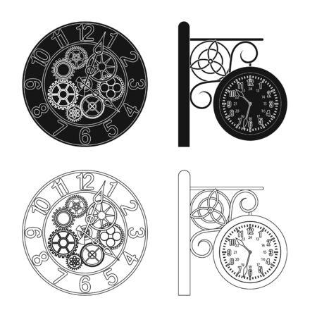 Isoliertes Objekt der Uhr und des Zeitsymbols. Sammlung von Uhr und Kreis Lager Vektor-Illustration.