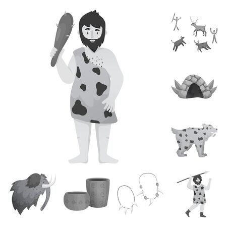 Isolated object of history and era icon. Collection of history and neolithic stock symbol for web. Illustration
