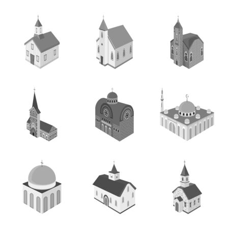 Isolated object of landmark and clergy icon. Collection of landmark and religion stock symbol for web.