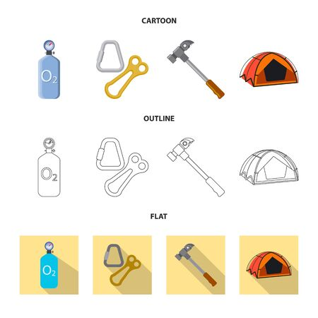Vector illustration of mountaineering and peak sign. Set of mountaineering and camp stock symbol for web. Illustration