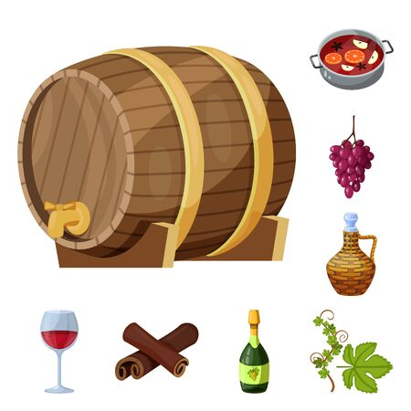 Vector illustration of grape and winery sign. Collection of grape and manufacturing stock vector illustration.