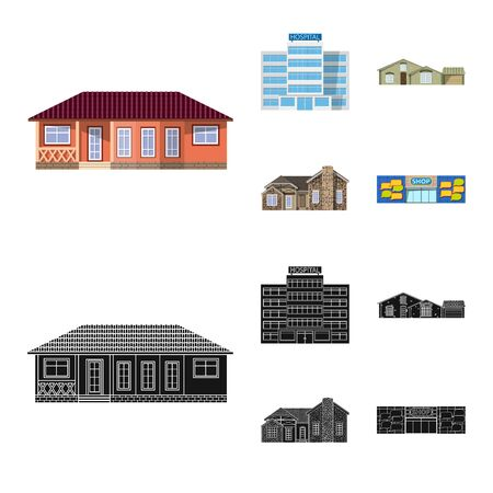 Vector illustration of building and front logo. Set of building and roof stock symbol for web. Ilustração