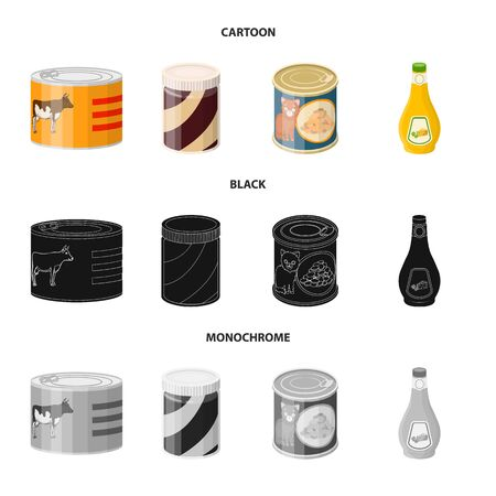 Vector design of can and food icon. Collection of can and package vector icon for stock. Stock Illustratie