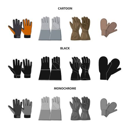 Isolated object of glove and winter symbol. Set of glove and equipment vector icon for stock.