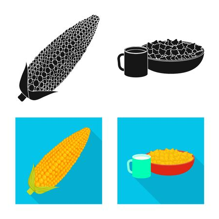 Vector illustration of cornfield and vegetable logo. Set of cornfield and vegetarian stock symbol for web.