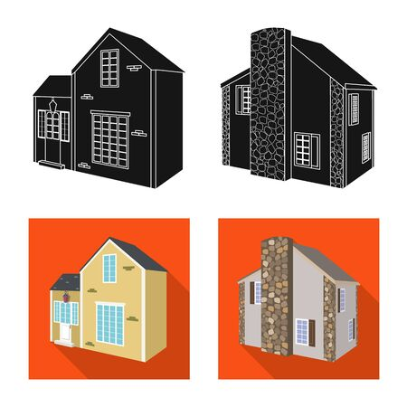 Vector illustration of facade and housing symbol. Collection of facade and infrastructure stock vector illustration.  イラスト・ベクター素材