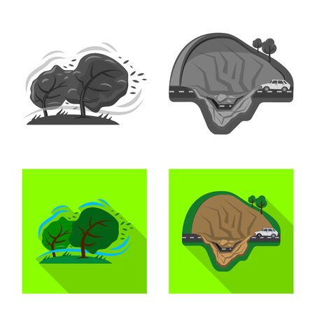 Vector illustration of natural and disaster symbol. Collection of natural and risk vector icon for stock. Иллюстрация
