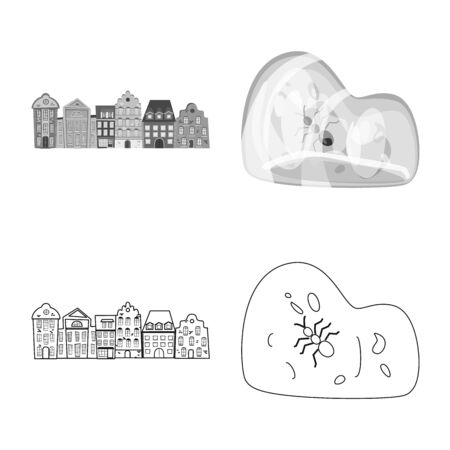 Isolated object of traditional and tour sign. Collection of traditional and landmarks vector icon for stock. Illustration