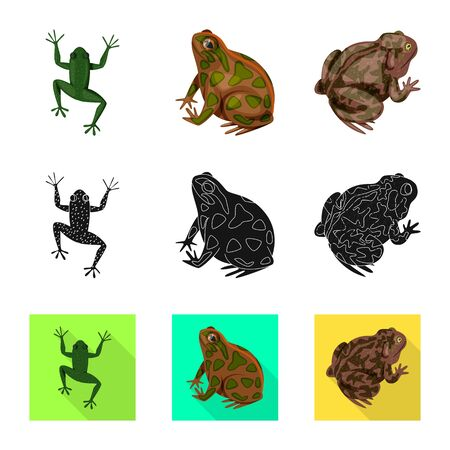 Vector design of wildlife and bog sign. Collection of wildlife and reptile stock vector illustration.