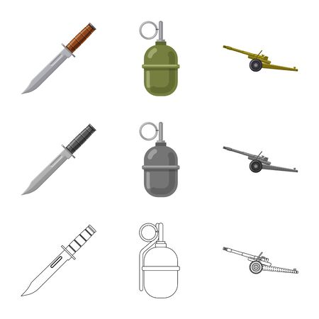 Isolated object of weapon and gun logo. Set of weapon and army vector icon for stock. Illustration